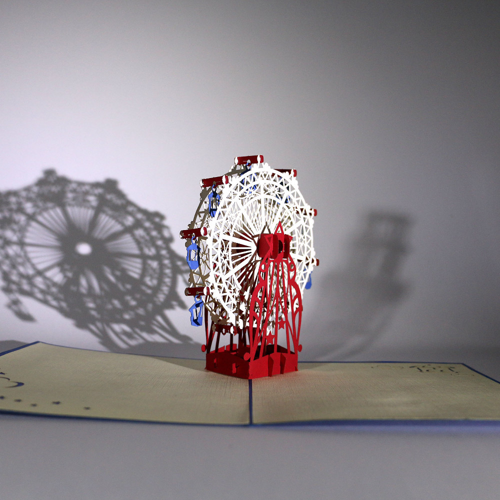 3D-Grußkarte mit Pop-up-Riesenrad