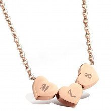 PERSONALIZED ROSE GOLD HEART NECKLACE WITH INITIALS